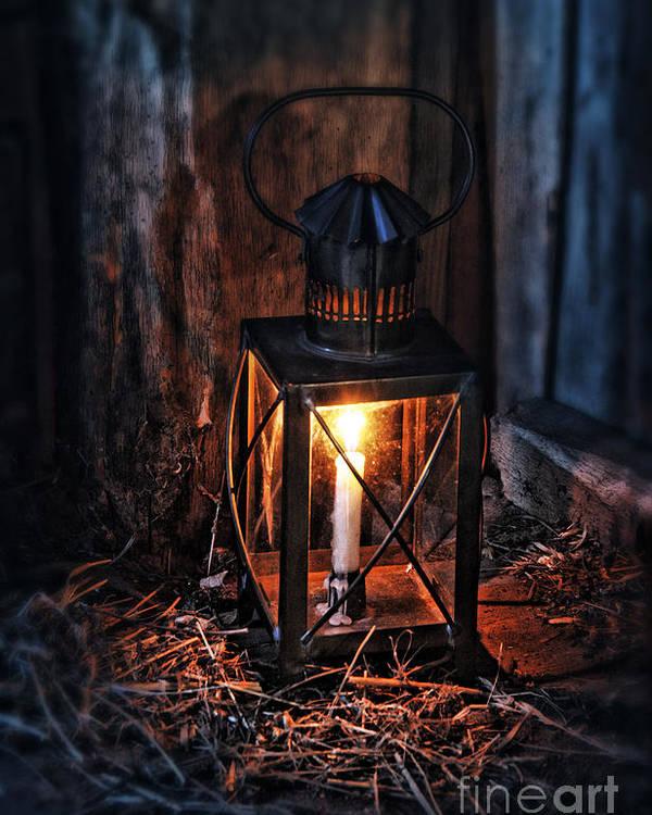 Lantern Poster featuring the photograph Vintage Lantern In A Barn by Jill Battaglia