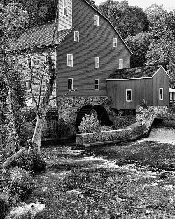 Paul Ward Poster featuring the photograph Vintage Mill In Black And White by Paul Ward