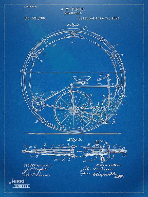 Bicycle Poster featuring the digital art Vintage Monocycle Patent Artwork 1894 by Nikki Marie Smith