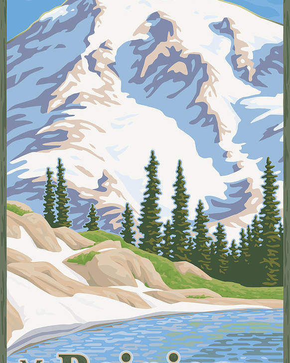 Mount Poster featuring the digital art Vintage Mount Rainier Travel Poster by Mitch Frey