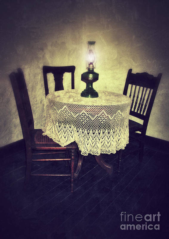 Table Poster featuring the photograph Vintage Table And Chairs By Oil Lamp Light by Jill Battaglia