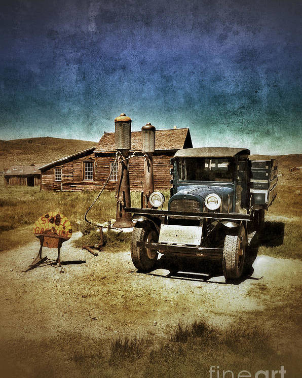 Truck Poster featuring the photograph Vintage Vehicle At Vintage Gas Pumps by Jill Battaglia