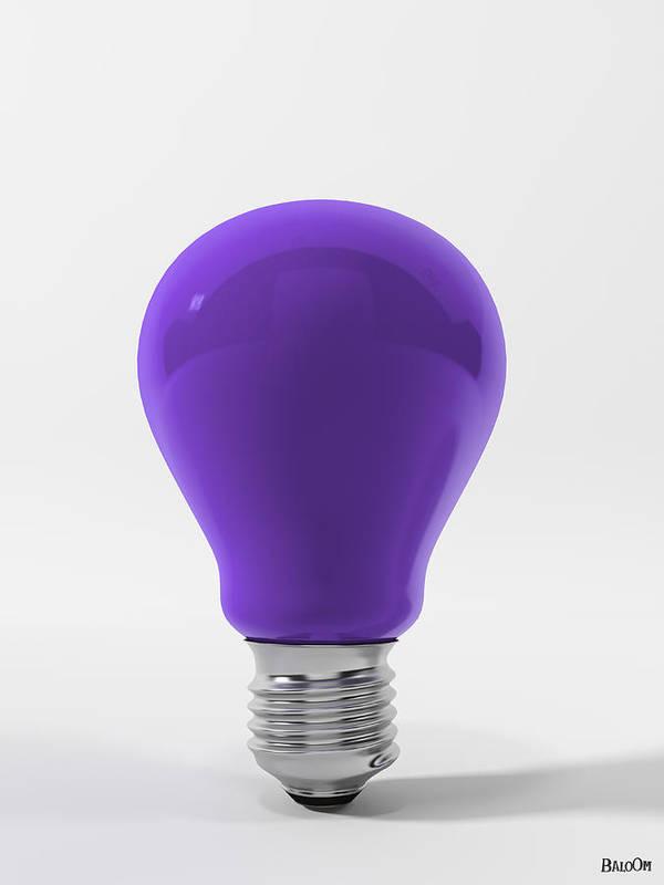 Violet Lamp Poster featuring the digital art Violet Lamp by BaloOm Studios
