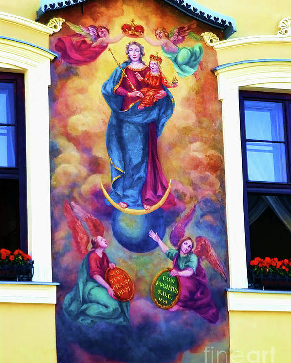 Virgin Mary Mural Poster featuring the photograph Virgin Mary Mural by Mariola Bitner