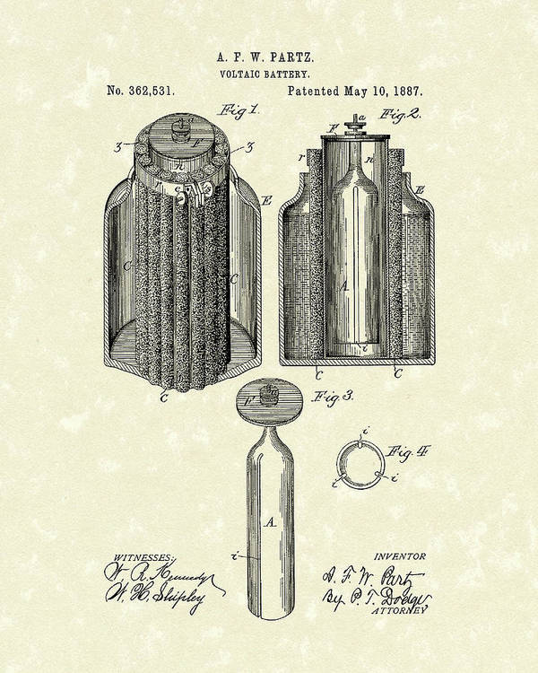 Battery Poster featuring the drawing Voltaic Battery 1887 Patent Art by Prior Art Design