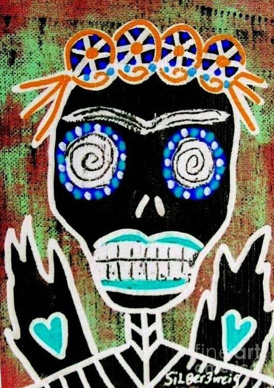Women Poster featuring the digital art Voodoo Queen Sugar Skull Angel by Sandra Silberzweig