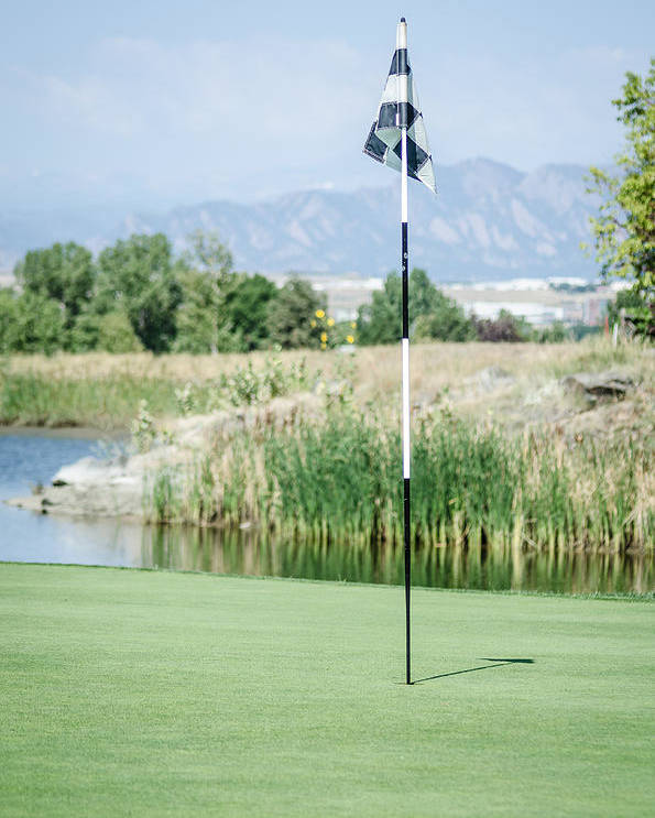 Golf Poster featuring the photograph Waiting Flag by Noah Katz