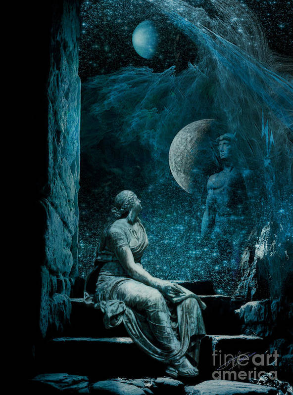 Blue Poster featuring the digital art Waiting Hermes For by Pavlos Vlachos