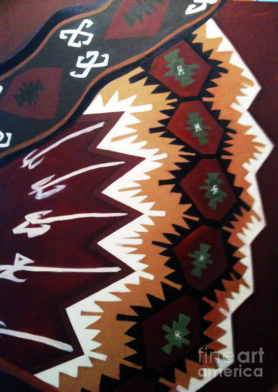 Kilim Poster featuring the painting Warped by Nuray Erkutay Fuller