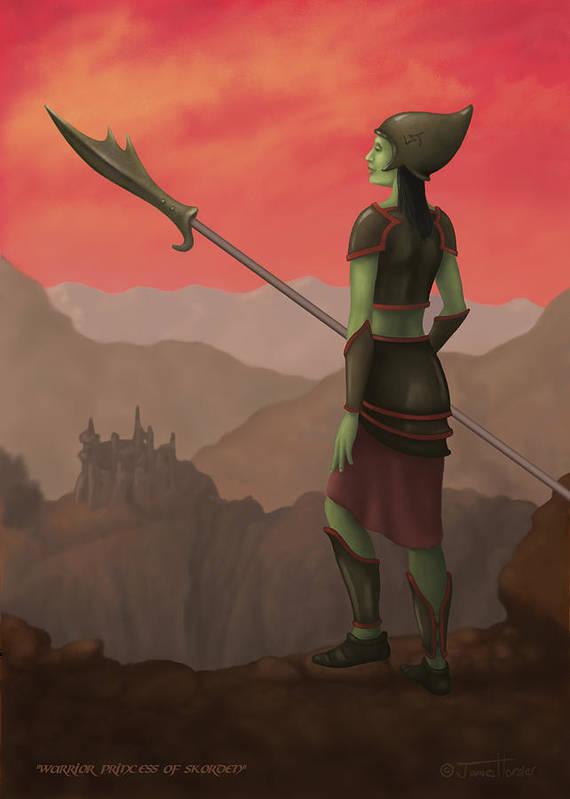 Skorden Poster featuring the digital art Warrior Princess Of Skorden by James Horsler