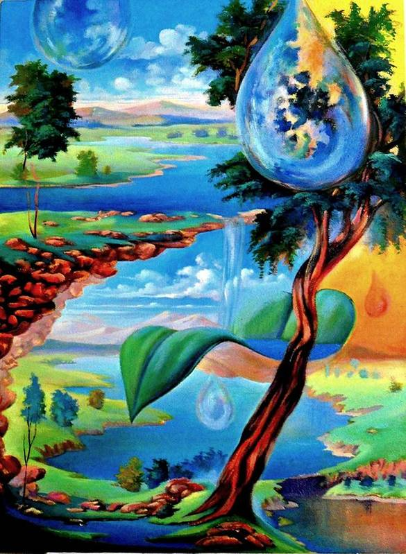 Poster featuring the painting Water Planet by Leomariano artist BRASIL