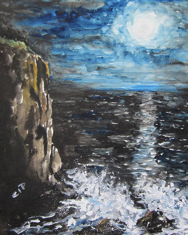 Moon Poster featuring the painting Water Under The Moonligt by Cheryl Pettigrew