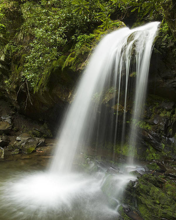 Grotto Falls Poster featuring the photograph Waterfall At Springtime by Andrew Soundarajan