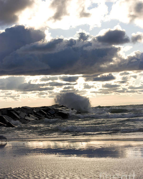 Horizontal Poster featuring the photograph Wave Crashing Into Jetty On Lake Michigan by Christopher Purcell