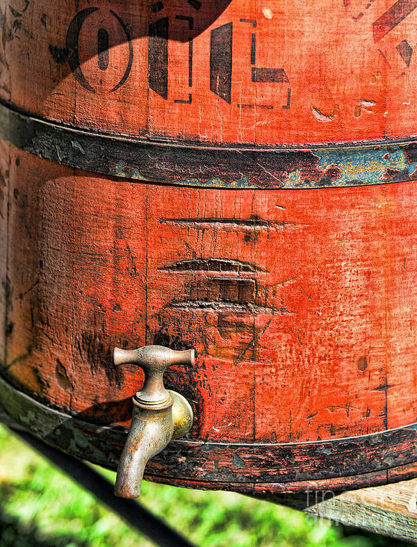 Weathered Red Oil Bucket Poster featuring the photograph Weathered Red Oil Bucket by Paul Ward