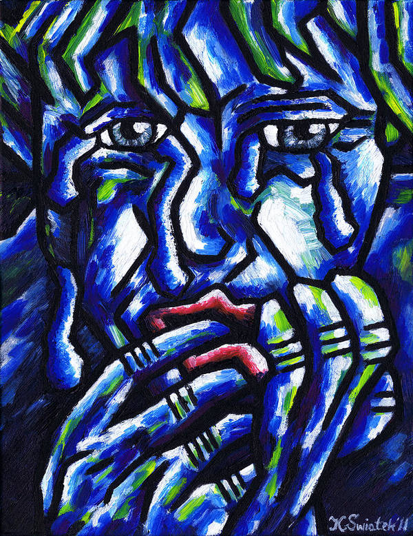 Weeping Poster featuring the painting Weeping Child by Kamil Swiatek