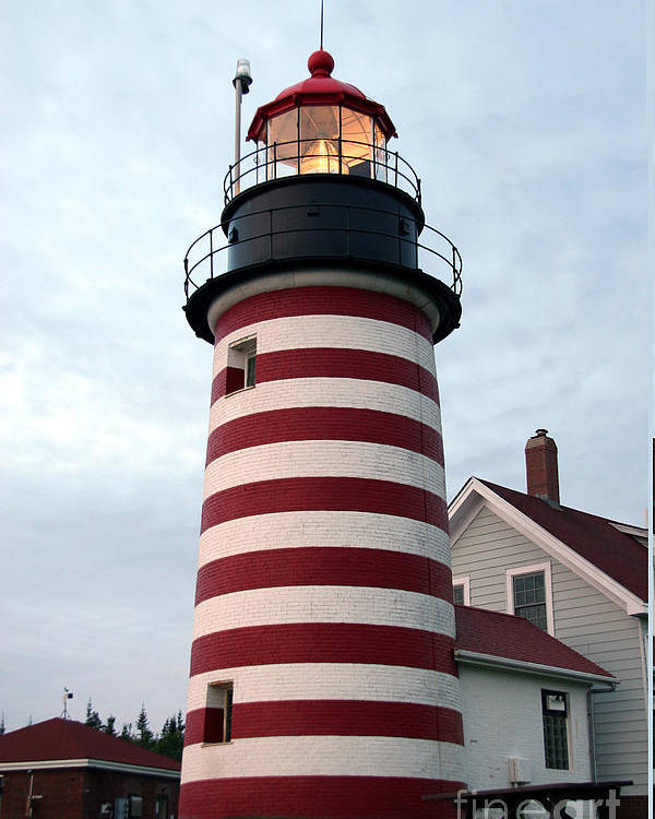 West Quoddy Head Light Poster featuring the photograph West Quoddy Lighthouse by Brenda Giasson