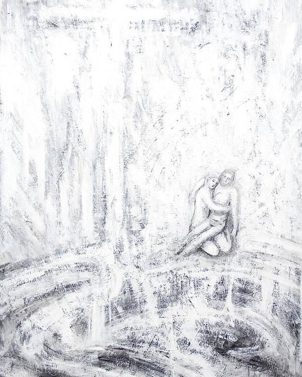 Abstract White Poster featuring the painting White Pieta by Kazuya Akimoto