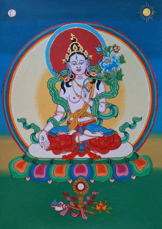 Thangka Poster featuring the painting White Tara by Ies Walker
