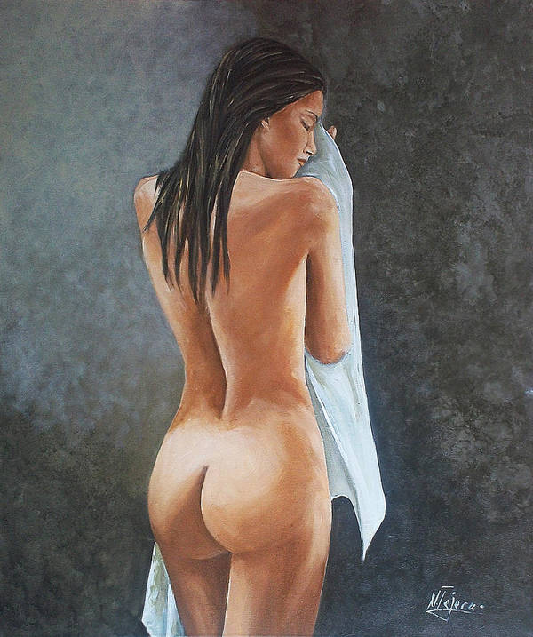 Nude Poster featuring the painting White Towel by Natalia Tejera