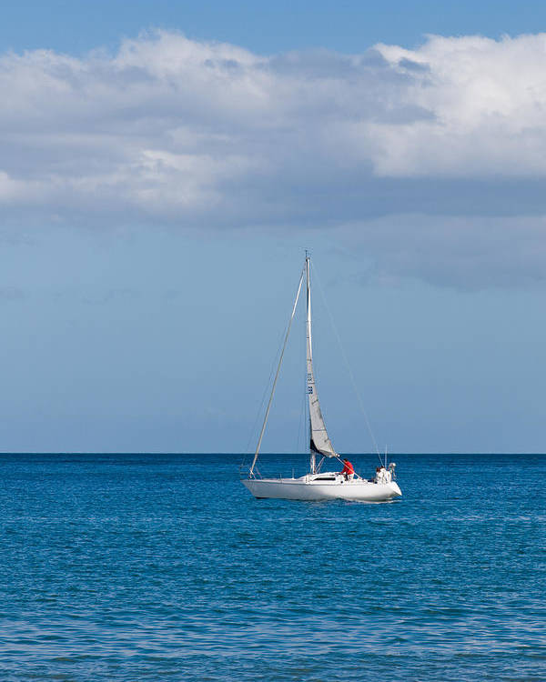 Active Poster featuring the photograph White Yacht Sails In The Sea Along The Coast Line by Ulrich Schade