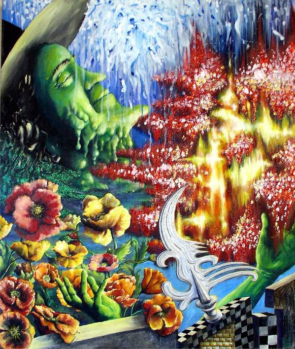 Wicked Witch Wizard Oz Ruby Slippers Poppies Melting Green Water Fire Metal Yellow Brick Passion Elphaba Poster featuring the painting Wicked Passion by Rust Dill