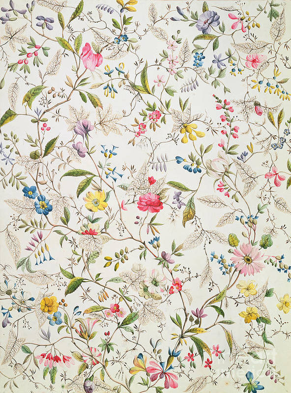 Kilburn Poster featuring the painting Wild Flowers Design For Silk Material by William Kilburn