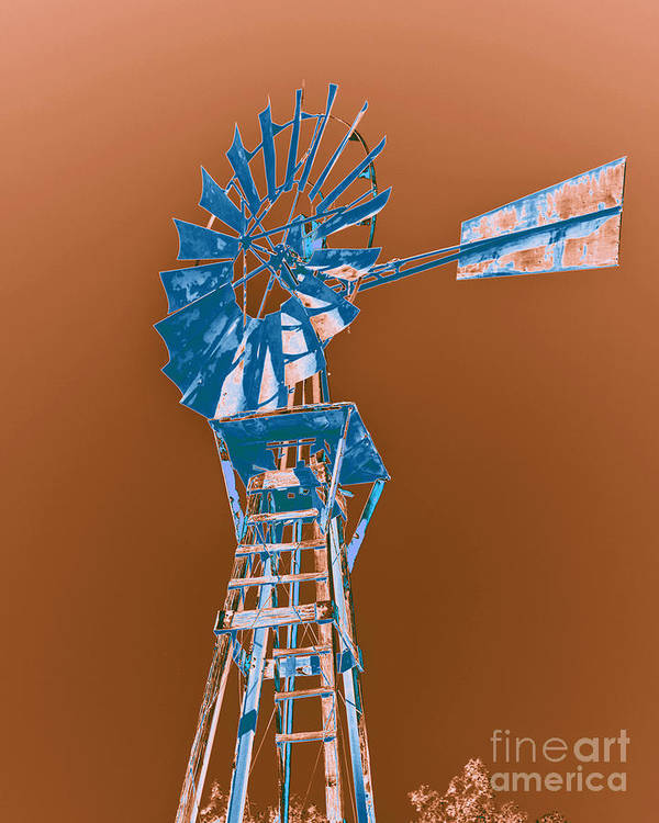 Windmill Poster featuring the photograph Windmill Blue by Rebecca Margraf