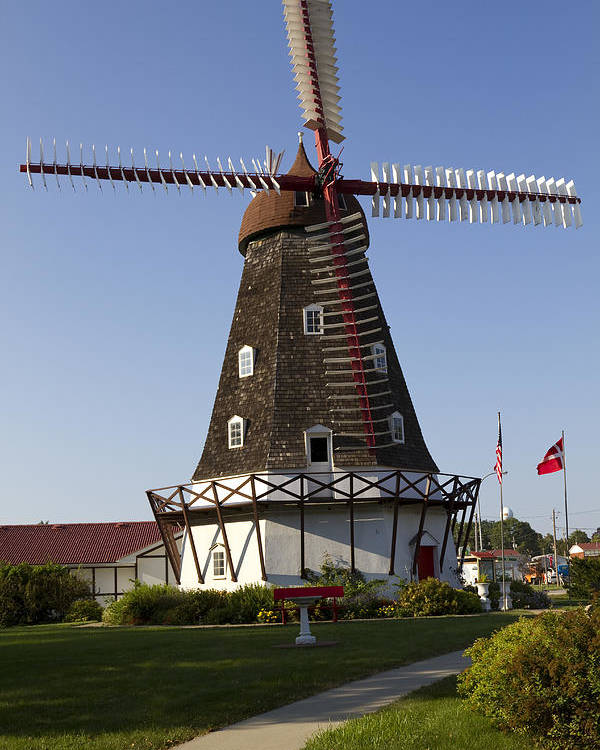Windmill Poster featuring the photograph Windmill Danish Style 1 A by John Brueske