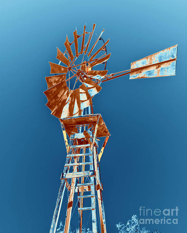 Windmill Poster featuring the photograph Windmill Rust Orange With Blue Sky by Rebecca Margraf