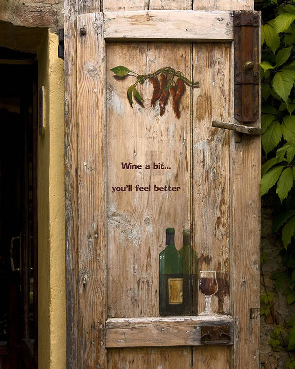 Old Door Poster featuring the photograph Wine A Bit Door by Sally Weigand
