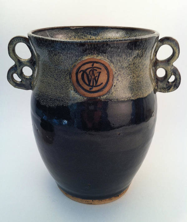 Art Poster featuring the ceramic art Wine Chiller Or Vase With Licorice And Light Beige Glaze by Carolyn Coffey Wallace
