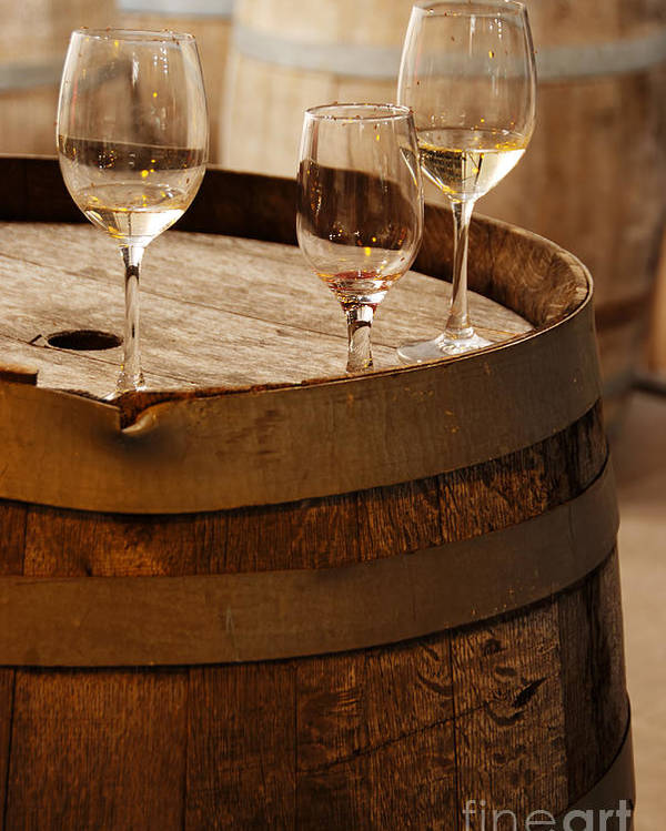Alcohol Poster featuring the photograph Wine Glasses On An Old Wine Barrel by Michael Gray