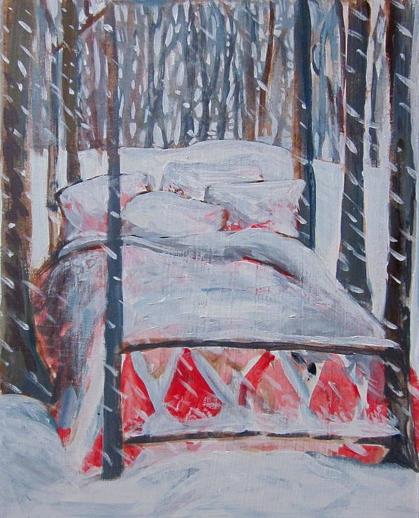 Snow Poster featuring the painting Winter Hybernation by Tilly Strauss