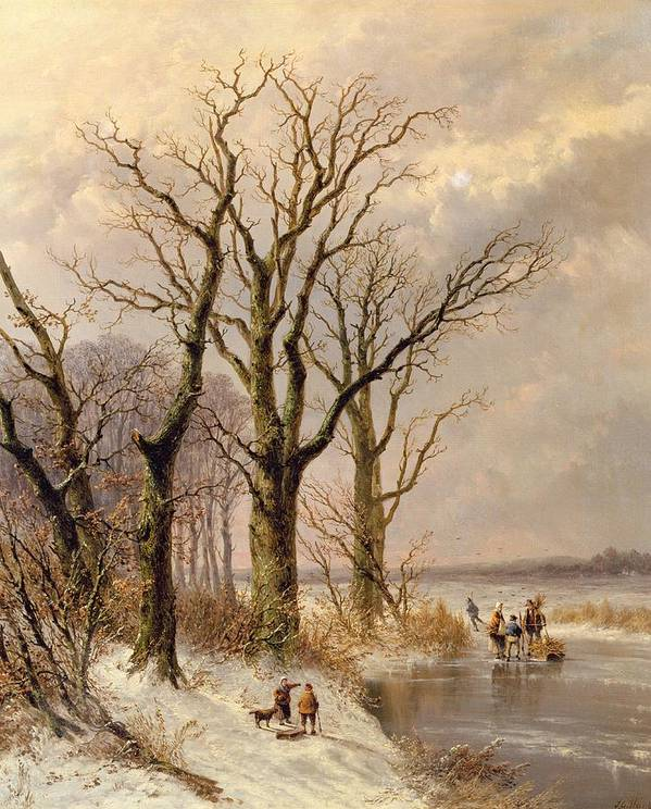 Snow; Toboggan Poster featuring the painting Winter Landscape With Faggot Gatherers Conversing On A Frozen Lake by Josephus Gerardus Hans