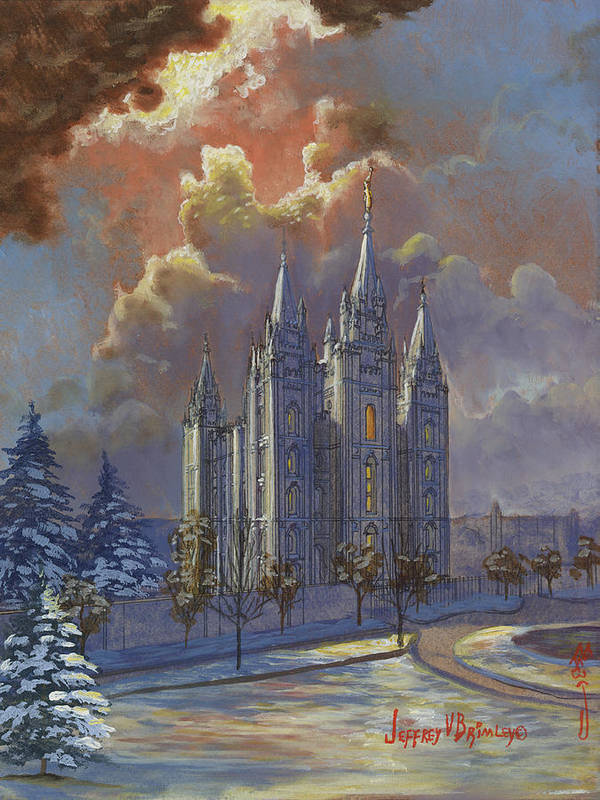 Salt Lake Temple Poster featuring the painting Winter Solace by Jeff Brimley