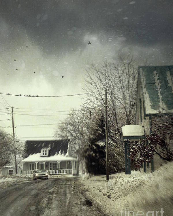 Alone Poster featuring the photograph Winter Street Scene With A Car In A Small Town by Sandra Cunningham