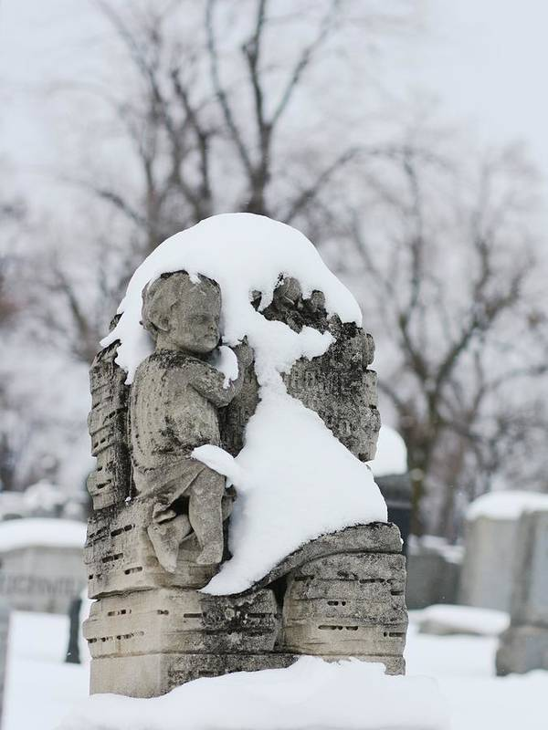 Snow Poster featuring the photograph Winter Tombstone by Gothicrow Images
