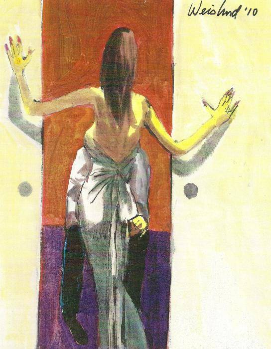 Erotic Poster featuring the painting Woman In Gown French Doors by Harry Weisburd