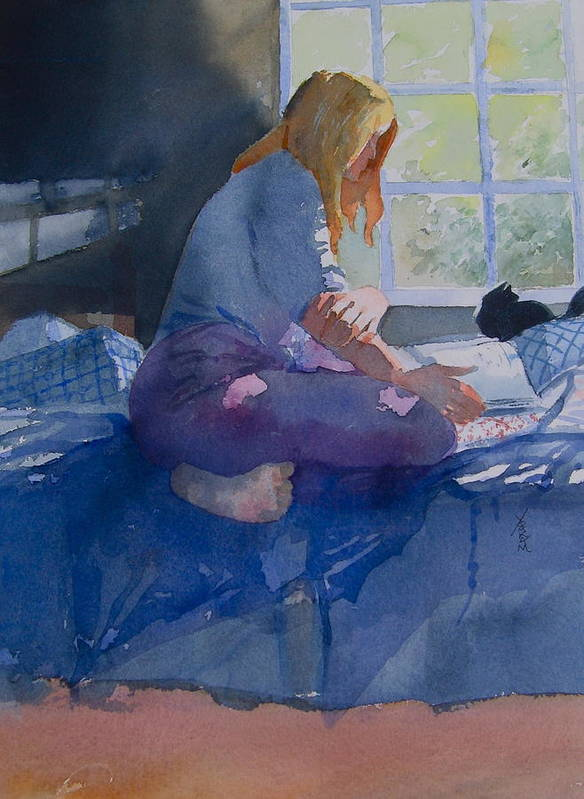 Watercolor Poster featuring the painting Woman Reading by Richard Yoakam