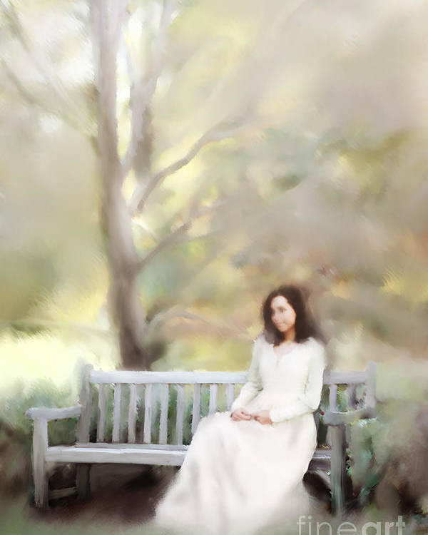 Antique Poster featuring the photograph Woman Sitting On Park Bench by Stephanie Frey