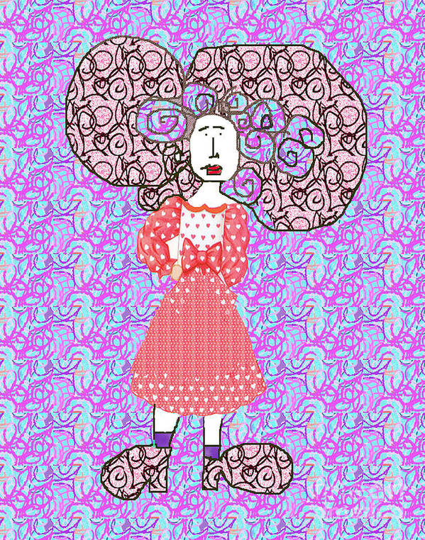 Hair Poster featuring the digital art Woman With Crazy Hair by Joyce Goldin