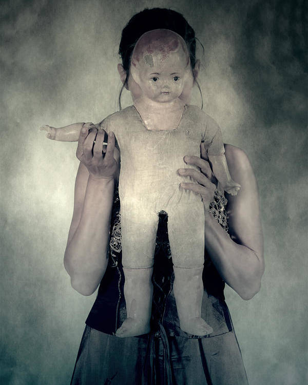 Hide Poster featuring the photograph Woman With Doll by Joana Kruse