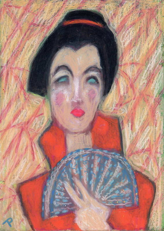 Crayon Poster featuring the painting Woman With Fan by Todd Peterson