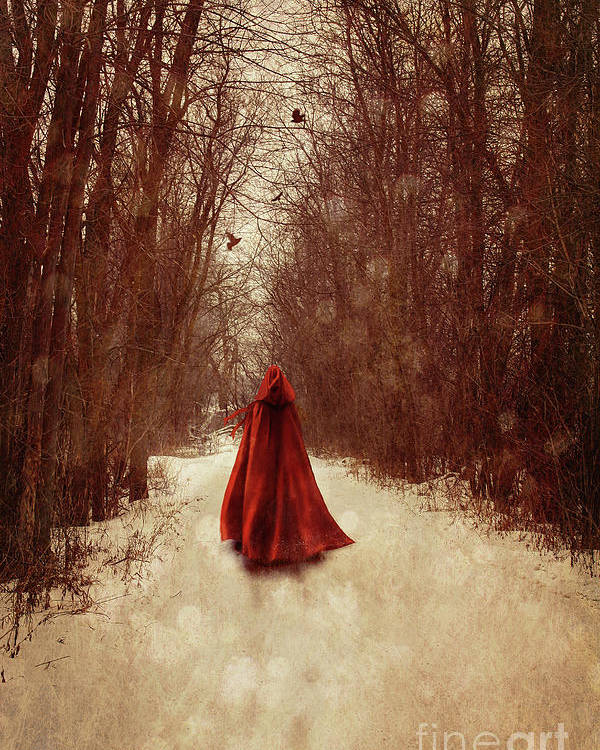 Atmospheric Poster featuring the photograph Woman With Red Cape Walking In Woods by Sandra Cunningham