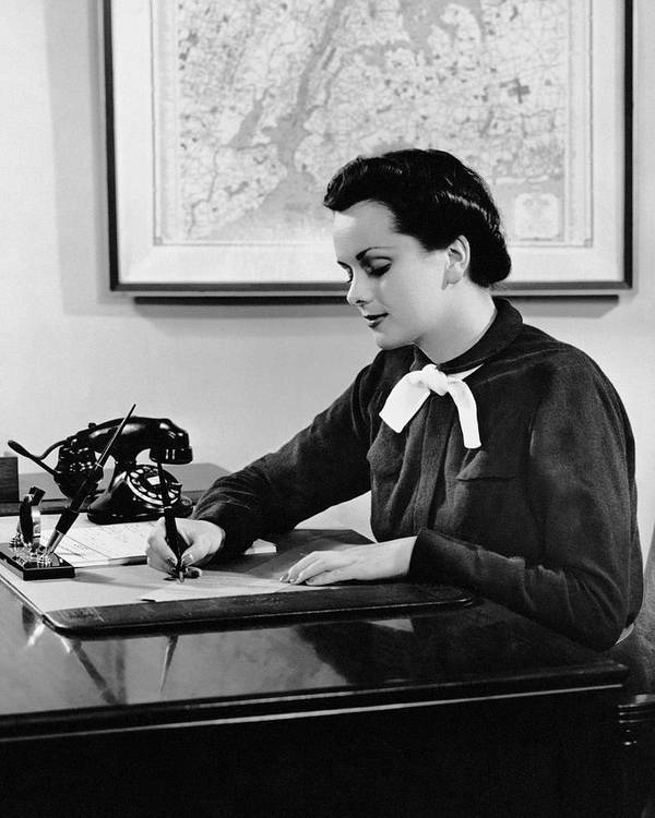 Adult Poster featuring the photograph Woman Writing At Desk by George Marks