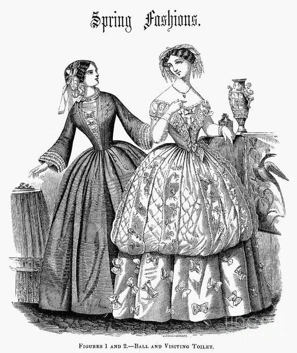 1853 Poster featuring the photograph Womens Fashion, 1853 by Granger