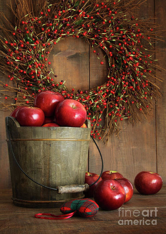 Apple Poster featuring the photograph Wood Bucket Of Apples For The Holidays by Sandra Cunningham