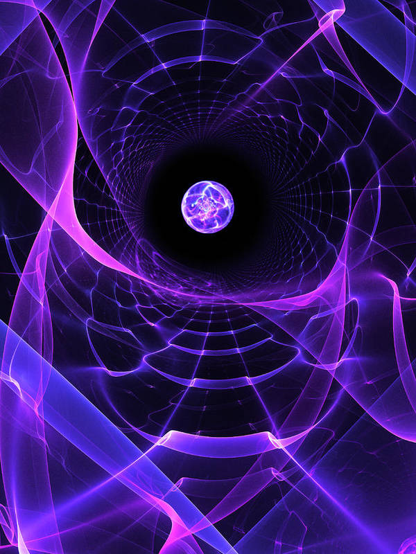 Space Poster featuring the digital art Wormhole by Pam Blackstone