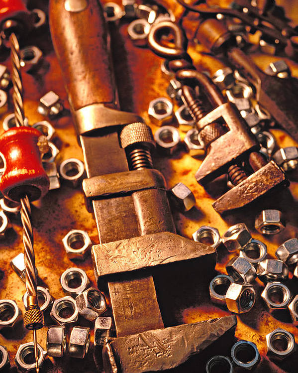 Tool Poster featuring the photograph Wrench Tools And Nuts by Garry Gay
